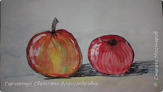 "Детские рисунки  ребят  4""А"" класса  .Натюрморт "" Яблоко и помидор""  фото 2"