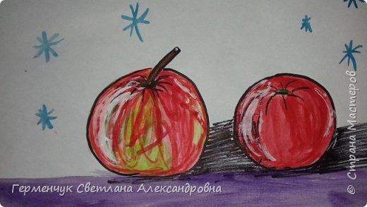 "Детские рисунки  ребят  4""А"" класса  .Натюрморт "" Яблоко и помидор""  фото 3"