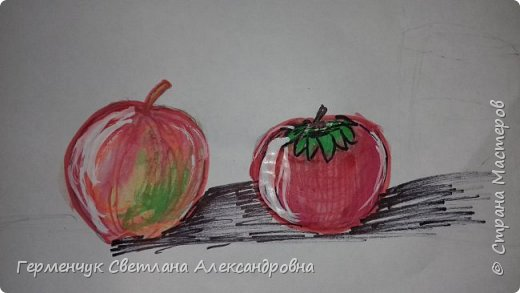 "Детские рисунки  ребят  4""А"" класса  .Натюрморт "" Яблоко и помидор""  фото 4"