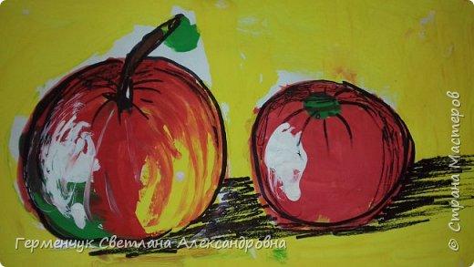 "Детские рисунки  ребят  4""А"" класса  .Натюрморт "" Яблоко и помидор""  фото 1"