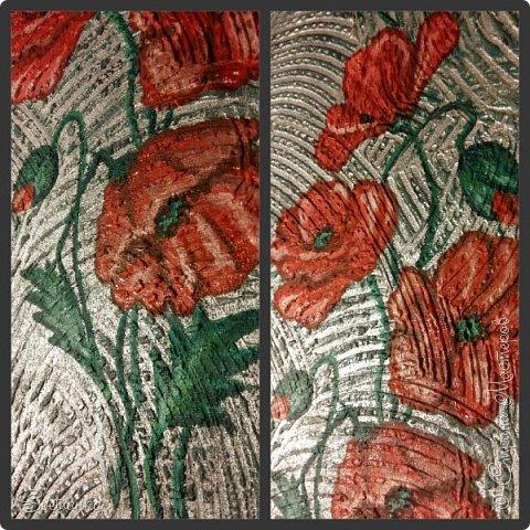 """Это панно делала несколько лет назад в """"зеленую"""" ванную. Красные маки на зеленой плитке прекрасно смотрелись и удачно разбавляли монохромность стен. Сочетание цветов из природы: зеленый + красный! фото 2"""