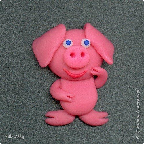 Свинки - магниты на холодильник из запекаемой пластики (цернит). Делала 12 лет назад к новому году. фото 5