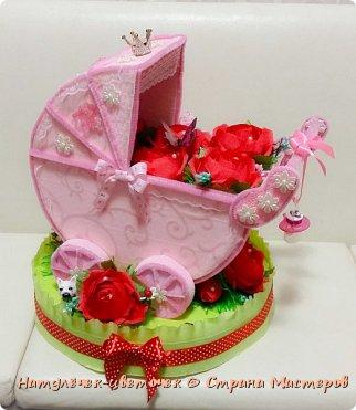 наконец розовая колясочка с памперсами и соской фото 2