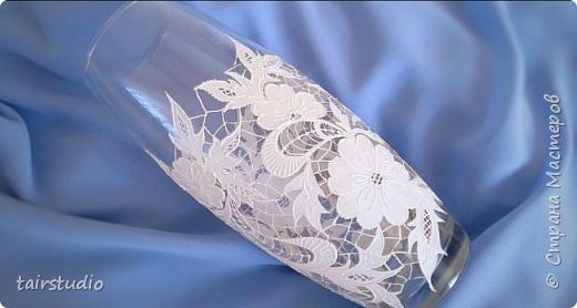 �митация вышивки Ришелье. Декор стеклянной вазы для новичков.