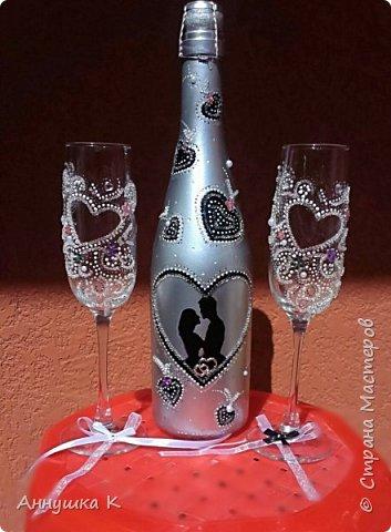 Свадебные бутылочки и бокалы фото 6