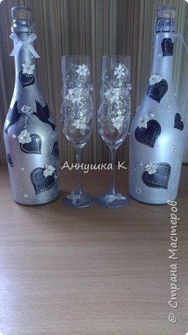 Свадебные бутылочки и бокалы фото 1