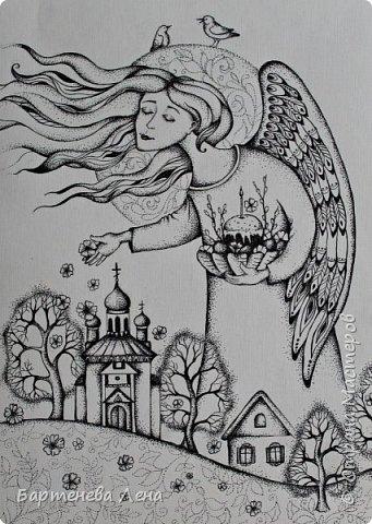 """Забыла выложить во время. """"Пасхальный ангел"""". Рисовала в подарок одному, очень хорошему священнику с нашего прихода)"""