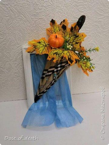 """Осень вдохновляет. Учит доченька песенку, а там текст: """"если выйдете гулять, не забудьте зонтик взять"""".. И вот решили мы сделать поделку в виде зонта.  фото 10"""