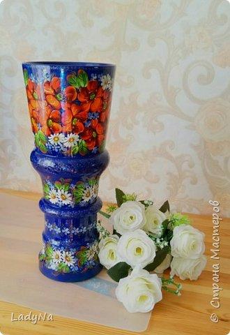 Деревянная расписная ваза