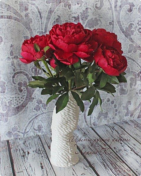 Букет красно-малиновых пионов. фото 5