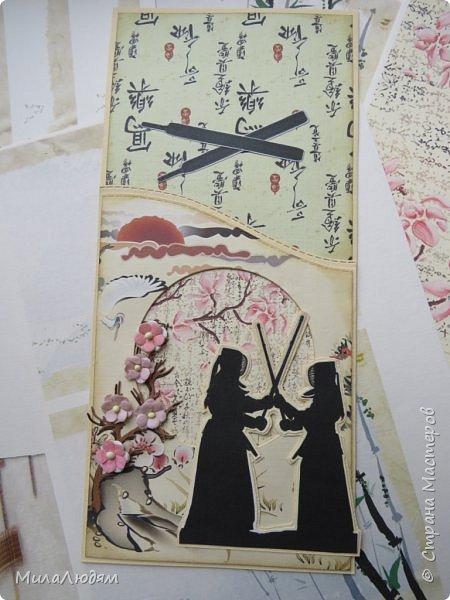 Доброго времени суток всем! Я продолжаю Самурайскую тему. Вторая открыточка. Она мне очень нравится.Она получилась очень органичная. Только она розовая, нежная и женственная. Или мне так кажется? Напоминаю: Тямбара - это «бой на мечах», специфический для Японии жанр историко-приключенческого кино, повествующий о самураях и сражениях на мечах, своего рода аналог американских вестернов и европейских фильмов плаща и шпаги. Слово «тямбара» происходит от «тянтян-барабара» звукоподражания, описывающего звук мечей в бою. Википедия фото 13
