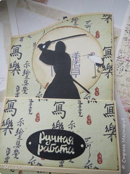 Доброго времени суток всем! Я продолжаю Самурайскую тему. Вторая открыточка. Она мне очень нравится.Она получилась очень органичная. Только она розовая, нежная и женственная. Или мне так кажется? Напоминаю: Тямбара - это «бой на мечах», специфический для Японии жанр историко-приключенческого кино, повествующий о самураях и сражениях на мечах, своего рода аналог американских вестернов и европейских фильмов плаща и шпаги. Слово «тямбара» происходит от «тянтян-барабара» звукоподражания, описывающего звук мечей в бою. Википедия фото 15
