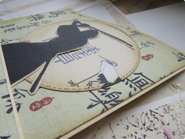 Доброго времени суток всем! Я продолжаю Самурайскую тему. Вторая открыточка. Она мне очень нравится.Она получилась очень органичная. Только она розовая, нежная и женственная. Или мне так кажется? Напоминаю: Тямбара - это «бой на мечах», специфический для Японии жанр историко-приключенческого кино, повествующий о самураях и сражениях на мечах, своего рода аналог американских вестернов и европейских фильмов плаща и шпаги. Слово «тямбара» происходит от «тянтян-барабара» звукоподражания, описывающего звук мечей в бою. Википедия фото 16