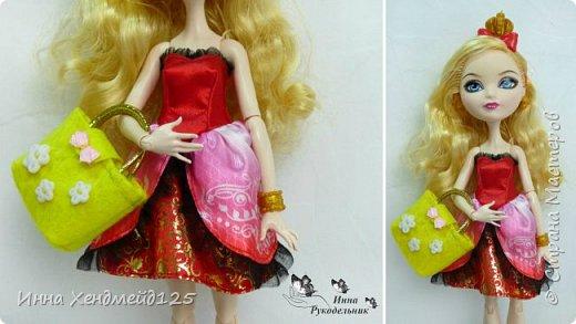 Для кукол сшила сумочку из фетра. Она получилась яркой, милой и вместительной.  А каких цветов сумочки вам нравятся больше всего?  Материалы: фетр, нитки, пуговички, лента, резинка, липучка, клей. фото 2