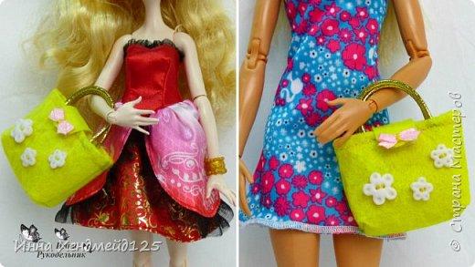 Для кукол сшила сумочку из фетра. Она получилась яркой, милой и вместительной.  А каких цветов сумочки вам нравятся больше всего?  Материалы: фетр, нитки, пуговички, лента, резинка, липучка, клей. фото 9