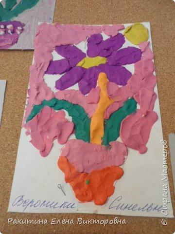 """Добрый день всем! В начале сентября в Москве проходил фестиваль """"Цветочный Джем"""", вот и мы с ребятами поучаствовали в нем - на уроке ИЗО рисовали пластилином цветы, вот такие замечательные картинки получились. Дети выбрали раскраски по своему вкусу, кто-то нарисовал сам цветочек. фото 5"""