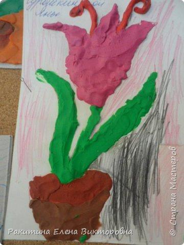 """Добрый день всем! В начале сентября в Москве проходил фестиваль """"Цветочный Джем"""", вот и мы с ребятами поучаствовали в нем - на уроке ИЗО рисовали пластилином цветы, вот такие замечательные картинки получились. Дети выбрали раскраски по своему вкусу, кто-то нарисовал сам цветочек. фото 12"""
