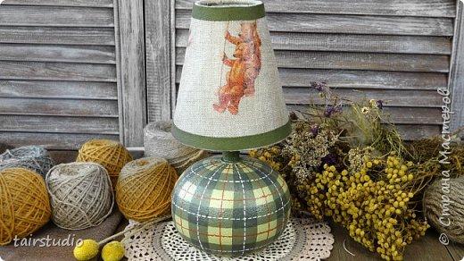 Переделка старой настольной лампы. Рисуем шотландскую клетку.