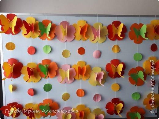 """Летнее украшение """"Бабочки и цветы"""" фото 2"""