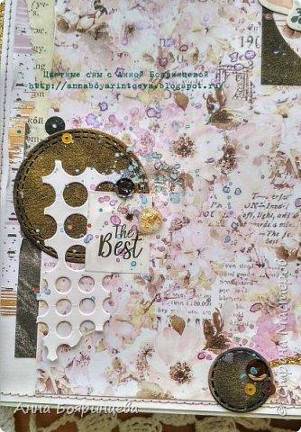 Всем привет!!!!! Когда были МК от Елены Моргун весь интернет пестрил такими альбомами. Я же свой альбомчик показываю только сейчас. Конечно живой МК-это незабываемые ощущения!!!!! 9 часов творчества, пролетели очень быстро. Столько впечатлений!!!! Поработала с красками - акварель Prima Watercolor Confections                                                            - чернила Prima Color Philosophy Dye Ink                                                            - воски Finnabair Art Alchemy Metallique Wax                                            от которых я была в таком восторге!!!!!                                                      Ну а теперь очень много фото!!!!! фото 3