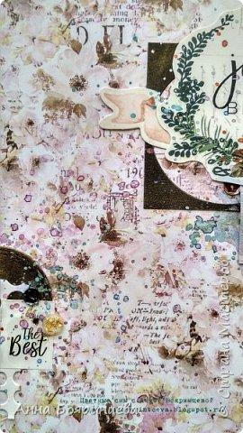 Всем привет!!!!! Когда были МК от Елены Моргун весь интернет пестрил такими альбомами. Я же свой альбомчик показываю только сейчас. Конечно живой МК-это незабываемые ощущения!!!!! 9 часов творчества, пролетели очень быстро. Столько впечатлений!!!! Поработала с красками - акварель Prima Watercolor Confections                                                            - чернила Prima Color Philosophy Dye Ink                                                            - воски Finnabair Art Alchemy Metallique Wax                                            от которых я была в таком восторге!!!!!                                                      Ну а теперь очень много фото!!!!! фото 4