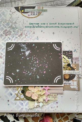 Всем привет!!!!! Когда были МК от Елены Моргун весь интернет пестрил такими альбомами. Я же свой альбомчик показываю только сейчас. Конечно живой МК-это незабываемые ощущения!!!!! 9 часов творчества, пролетели очень быстро. Столько впечатлений!!!! Поработала с красками - акварель Prima Watercolor Confections                                                            - чернила Prima Color Philosophy Dye Ink                                                            - воски Finnabair Art Alchemy Metallique Wax                                            от которых я была в таком восторге!!!!!                                                      Ну а теперь очень много фото!!!!! фото 12