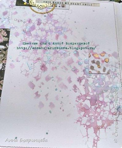Всем привет!!!!! Когда были МК от Елены Моргун весь интернет пестрил такими альбомами. Я же свой альбомчик показываю только сейчас. Конечно живой МК-это незабываемые ощущения!!!!! 9 часов творчества, пролетели очень быстро. Столько впечатлений!!!! Поработала с красками - акварель Prima Watercolor Confections                                                            - чернила Prima Color Philosophy Dye Ink                                                            - воски Finnabair Art Alchemy Metallique Wax                                            от которых я была в таком восторге!!!!!                                                      Ну а теперь очень много фото!!!!! фото 19