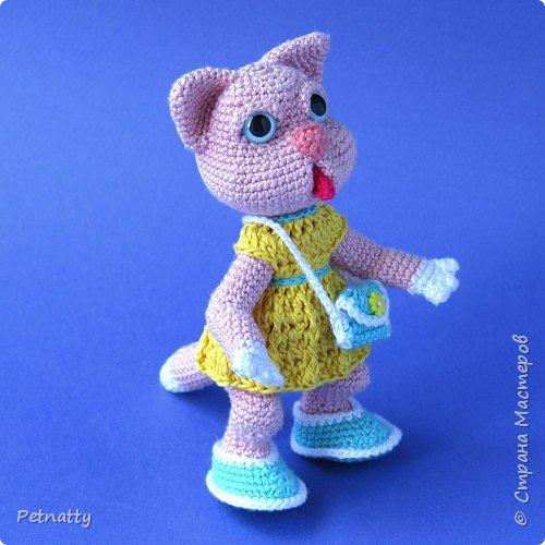 Мне понравились игрушки Kettidolls.zybok.kat https://stranamasterov.ru/user/280809 , посмотрела я на них и решила попробовать связать что-нибудь похожее. Нитки взяла розовые (для свинки или зайца), но получилась кошка. Впрочем, кошки тоже бывают розовые, которые без шерсти. Будем считать, что это сфинкс.  фото 3