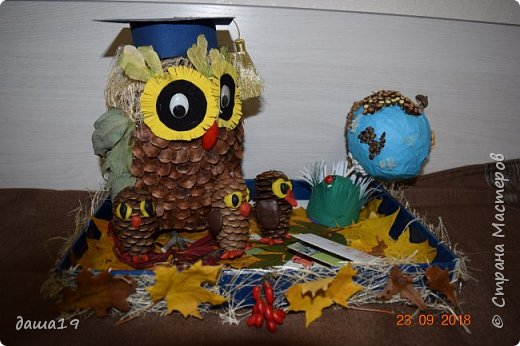 Ребенку в школу надо было сделать поделку из природного материала. Посмотрев, работы в интернете и стране мастеров вот что получилось. фото 1