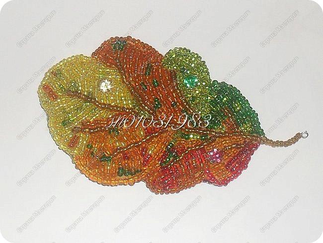Листья бывают самые разные: берёзовые, кленовые, дубовые...И каждый из них осенью определенного цвета, мой же сочетает в себе все краски осени. Здесь использованы красный, оранжевый, жёлтый, золотой, два зелёных, коричневый бисер. Эх, тяжела была работа, но так хотелось вышить! Вышивка бисером-это для меня релакс, магия,полёт!!!!! Мой новый отдых. фото 1