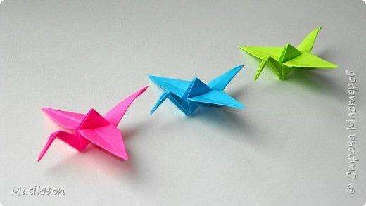 Журавлик из бумаги в технике оригами