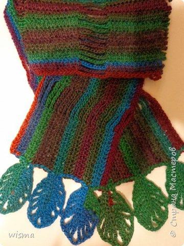 Похолодало и связался шарфик цветной, с ажурными листочками.  фото 1