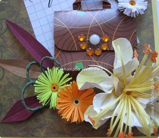 Мои открытки на заказ. Использовала для фона красивую скрапбумагу с осенней расцветкой. ну и побольше осенних цветочков-ноготочков, один желтоватый фантазийный цветок и учительский портфельчик с застежкой.   фото 5