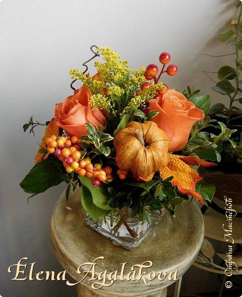 Добрый день! Сегодня я к вам с осенними композициями из цветов и листьев.  Этим летом я решила осуществить еще одну свою мечту - научится цветочному дизайну. Очень люблю цветы, травки-муравки, деревья и вообще все растения. Очень увлекательно работать с цветами! Я взяла небольшой курс по цветочному дизайну. Дома делаю оранжировки из того что под рукой, беру цветы которые под рукой и из своего садика. Конечно сейчас почти все отцвели...  Другие композиции делала для цветочного магазина где начала работать. Делюсь красотой! фото 9