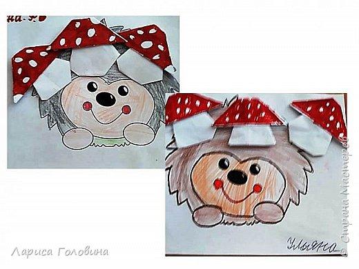 Ёжики моих второклассников. Раскраска https://www.pinterest.ru/pin/648518415067807049/ . Как сделать грибочки, на сайте Крокотак. фото 3