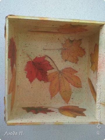 Всем здравствуйте! Принес мне муж с работы две фанерные коробочки, в них были посылки. Сделала в осеннем стиле, сверху- любимая кожа, внутри - декупаж. фото 10