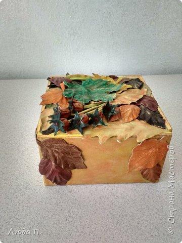 Всем здравствуйте! Принес мне муж с работы две фанерные коробочки, в них были посылки. Сделала в осеннем стиле, сверху- любимая кожа, внутри - декупаж. фото 5