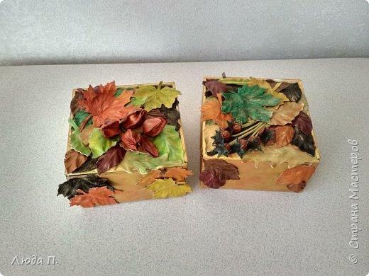 Всем здравствуйте! Принес мне муж с работы две фанерные коробочки, в них были посылки. Сделала в осеннем стиле, сверху- любимая кожа, внутри - декупаж. фото 11