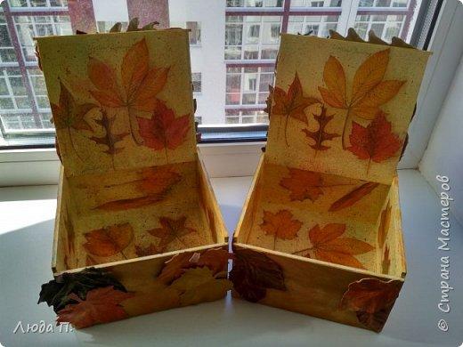 Всем здравствуйте! Принес мне муж с работы две фанерные коробочки, в них были посылки. Сделала в осеннем стиле, сверху- любимая кожа, внутри - декупаж. фото 8