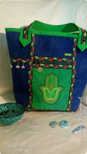 """Сумочка для моей подруги. Сумка сделана в буддийском стиле. Наружный карман  под молнией, украшен изображением """"Ладонь Ханумы"""", это своего рода оберег от сглаза. фото 1"""