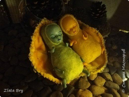 Две сестрички лесные феечки: желтенькая Гармия и зелененькая Мирия, сладко уснули на осеннем листочке, согревшись в последних лучах солнышка уходящего лета. От солнышка их кожа становится слегка румяной и блестящей, а волшебные сны заставляют загадочно улыбаться. Крошки совсем маленькие, так что уютно помещаются в ладошке, любят слушать сказки и пить чай с лесными травами.  фото 1