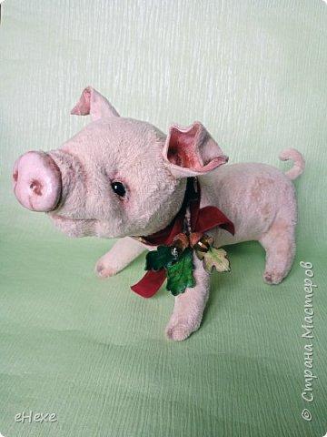 Свинка Лялька родилась по выкройке и вебинару Янины Орса. Пятачок, ушки, веки и украшение я сделала из натуральной кожи. фото 3