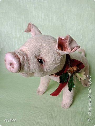Свинка Лялька родилась по выкройке и вебинару Янины Орса. Пятачок, ушки, веки и украшение я сделала из натуральной кожи. фото 1