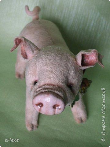 Свинка Лялька родилась по выкройке и вебинару Янины Орса. Пятачок, ушки, веки и украшение я сделала из натуральной кожи. фото 4