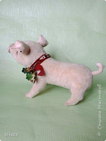 Свинка Лялька родилась по выкройке и вебинару Янины Орса. Пятачок, ушки, веки и украшение я сделала из натуральной кожи. фото 5
