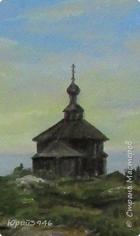 Деревянная церковь на севере России. Рисунок с фотографии, выполнен масляными красками на оргалите. Размер 12 х 22 см фото 2