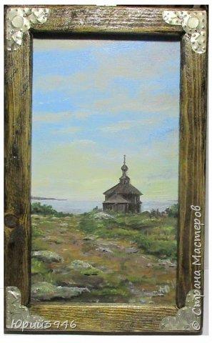 Деревянная церковь на севере России. Рисунок с фотографии, выполнен масляными красками на оргалите. Размер 12 х 22 см фото 3