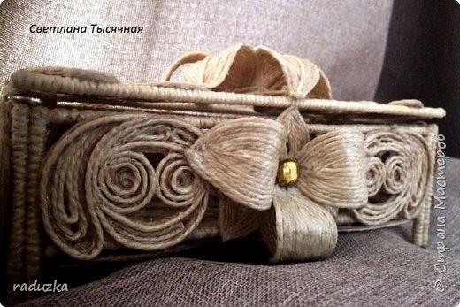 Шкатулка с цветком. Джутовая филигрань. фото 4