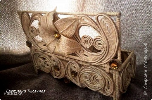 Шкатулка с цветком. Джутовая филигрань. фото 2