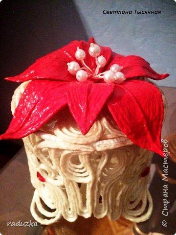 Шкатулка с цветком. Джутовая филигрань. фото 11